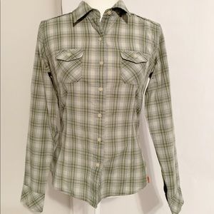 The North Face Green & Off White Plaid Shirt SMALL